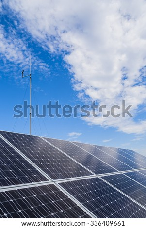 Solar panels against the sky and clouds. Photovoltaic.