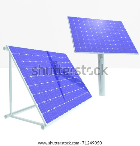 Solar panels. alternative sources of energy. 3d computer rendering - stock photo