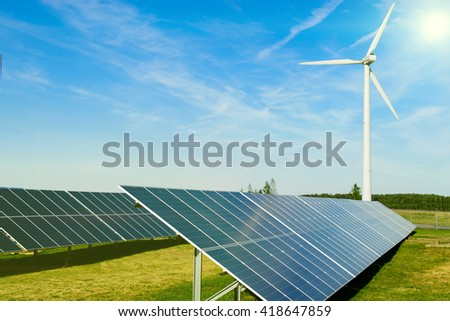 Solar panels and blue sky background, Power plant