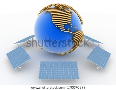 Solar Panels and earth, isolated on white background. Alternative Energy Concept. - stock photo