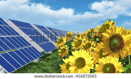 Solar panels and sunflowers Computer generated 3D illustration