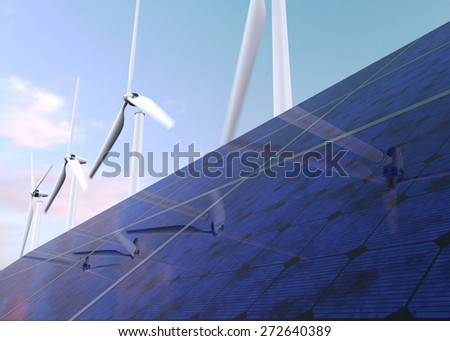 Solar panels and wind generators against blue sky - stock photo
