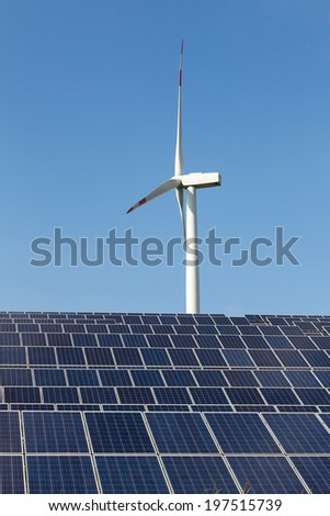 Solar panels and wind turbine for renewable and clean electricity production