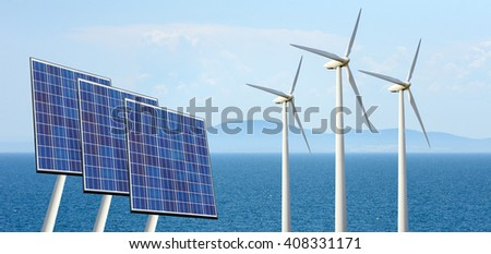 Solar panels and wind turbine on nature background - stock photo