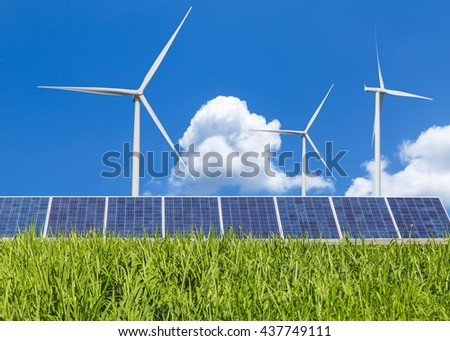 Solar panels and wind turbines green energy from nature   - stock photo