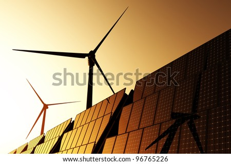 Solar Panels and Wind Turbines in Beautiful Sunset / Sunrise Energy Concept 3D render - stock photo