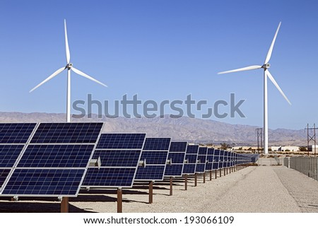 Solar Panels and Wind Turbines Power - stock photo