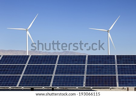 Solar Panels and Wind Turbines Power - stock photo