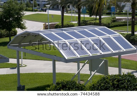 Solar Panels at Convention Center in Florida. - stock photo