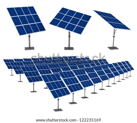 Solar Panels 3D render Isolated on White Background. Save paths for design work - stock photo