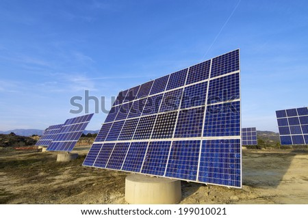 solar panels for electrical energy production. - stock photo
