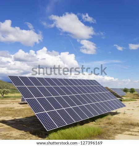Solar panels for renewable electric energy production - stock photo