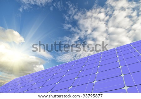 solar panels generate electricity on a clear sunny sky background