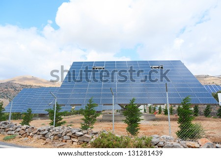 Solar panels . Greece. Crete island - stock photo