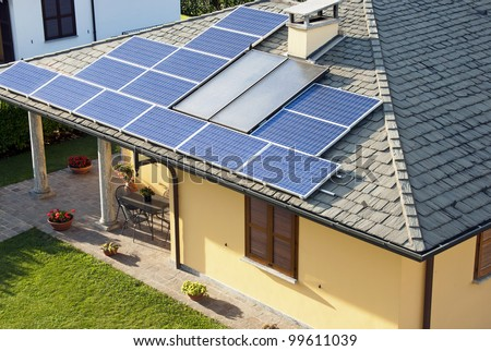 Solar panels house - stock photo