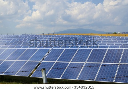 Solar panels in a field in the countryside