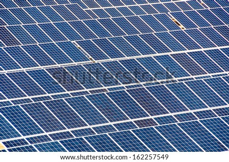 Solar panels in an ancient quarry of the ancient Romans, Elba Island, Italy - stock photo
