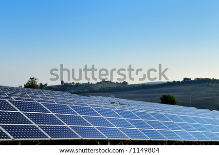 Solar Panels in country field - stock photo