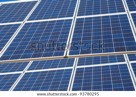 Solar panels in friendly energy - stock photo