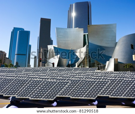 Solar panels in the city - stock photo