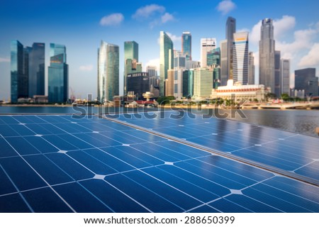 Solar Panels In The Modern City.