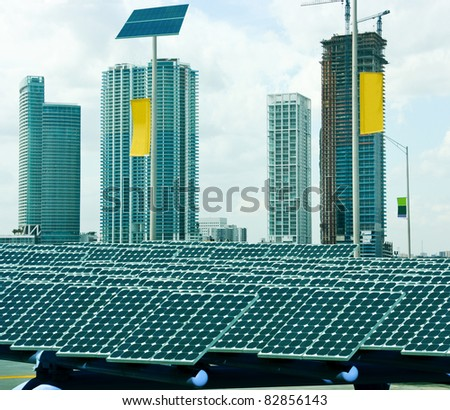 Solar panels in the modern city - stock photo