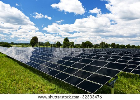 solar panels in the nature - stock photo
