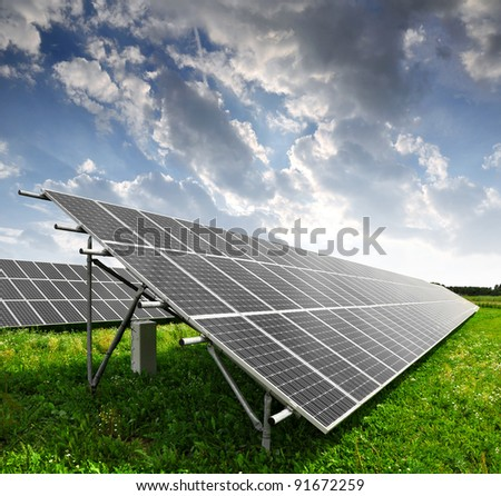 Solar panels in the sunset