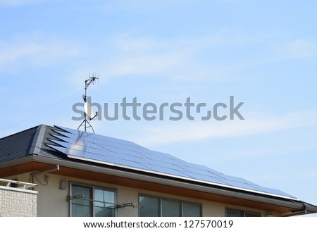 solar panels installed on the roof - stock photo