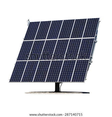 Solar panels isolated on white background. - stock photo