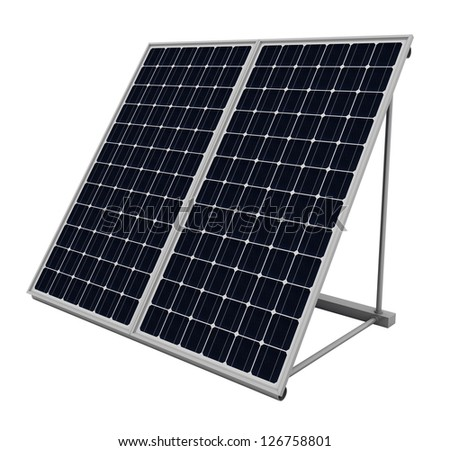 Solar panels isolated over white background - stock photo