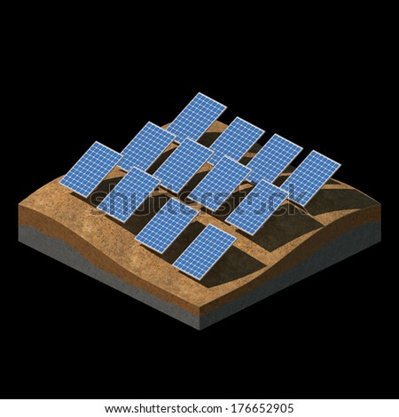 Solar panels on a desert field on black background - stock photo