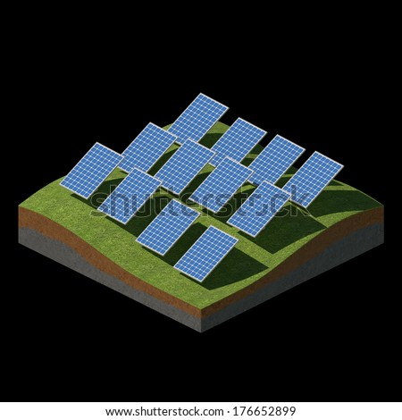 Solar panels on a grass field on black background  - stock photo
