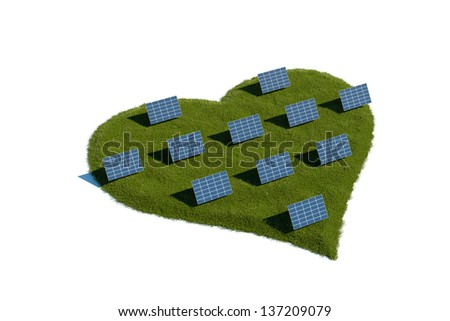 Solar panels on a patch of heart shaped grass - stock photo