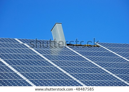 Solar panels on a roof. - stock photo