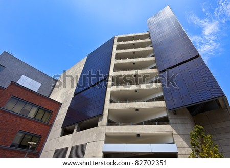Solar Panels on Energy Efficient, Conserving and Energy Saving Building San Diego, California - stock photo