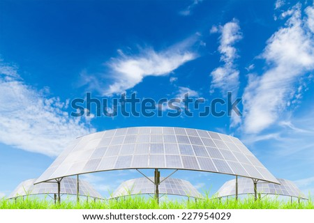 Solar panels on green grass field against blue sky background,useful for carbon credits concept. - stock photo