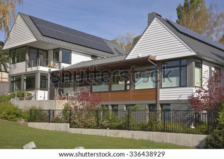 Solar panels on houses in Seattle Washington. - stock photo