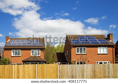 solar panels on roof, house