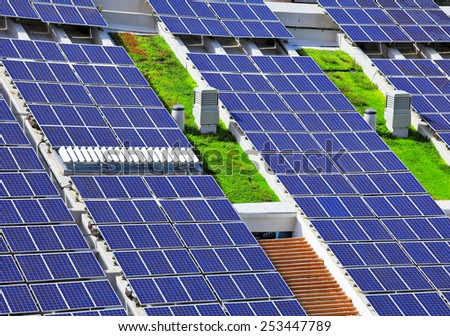Solar panels on roof top - stock photo