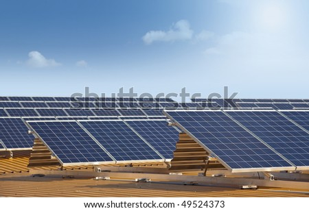 solar panels on roof XXL - stock photo