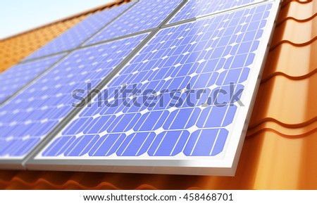 Solar panels on the roof. 3d Illustrations - stock photo