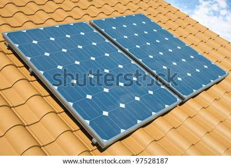 Solar panels on the roof. 3D render. - stock photo