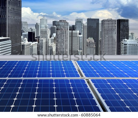 solar panels on the roof of modern skyscraper - stock photo