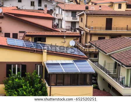 Solar panels on the roof of the house in Italy