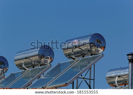 Solar panels on the roof (solar) with water tank