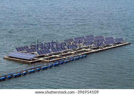 Solar panels on the water,Srinagarind dam thailand