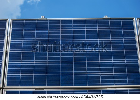 solar panels on wall of industrial object