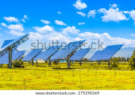 solar panels outdoors - stock photo