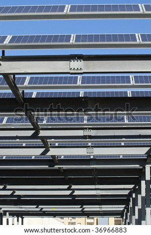 solar panels parking cover - stock photo